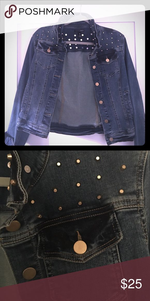 Hip Aqua Jean Jacket A studded jean jacket perfect for the season. Aqua Jackets & Coats Jean Jackets