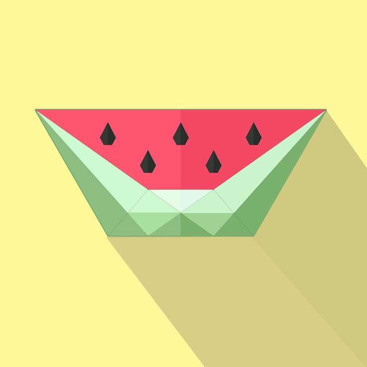 Watermelon Flat Design - by @7mings