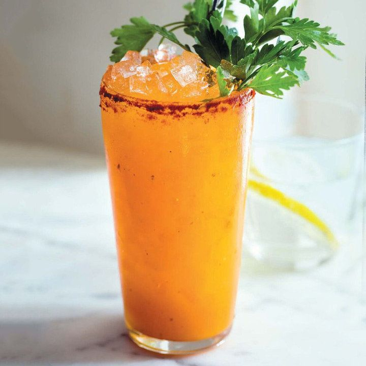 Bunny Mary  1 1⁄2 oz aquavit  3 oz Carrot juice  1⁄2 oz Fresh lemon juice  1⁄2 oz Honey syrup (equal parts honey and water)  1 tsp Crystal hot sauce  1 tsp Caper brine  Garnish:   Pimenton salt rim  Parsley sprig
