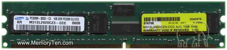 1GB 184pin PC3200 CL3 Registered ECC DDR DIMM T027, Samsung, AJC, M312L2920CZ3-CCC