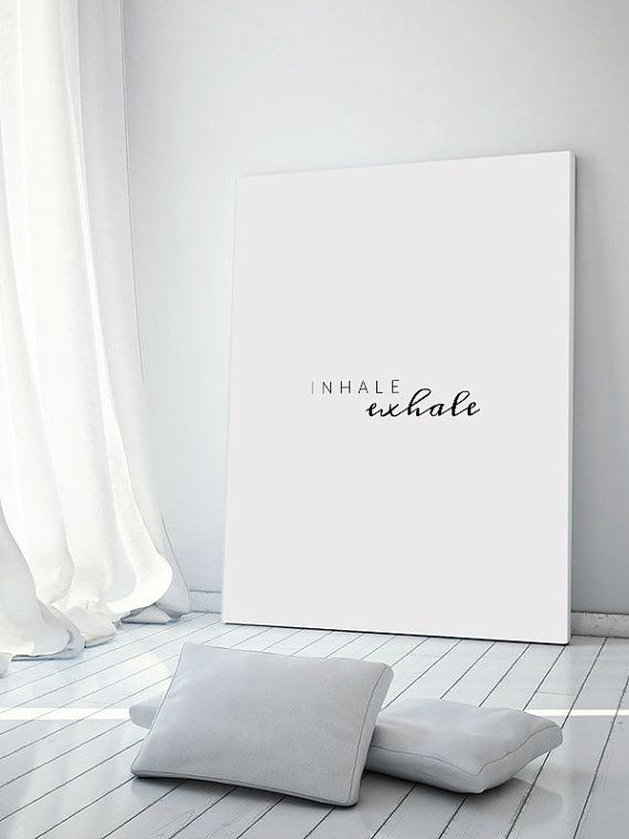 Inhale Exhale Poster Breathe Wall Art Yoga Print by printabold