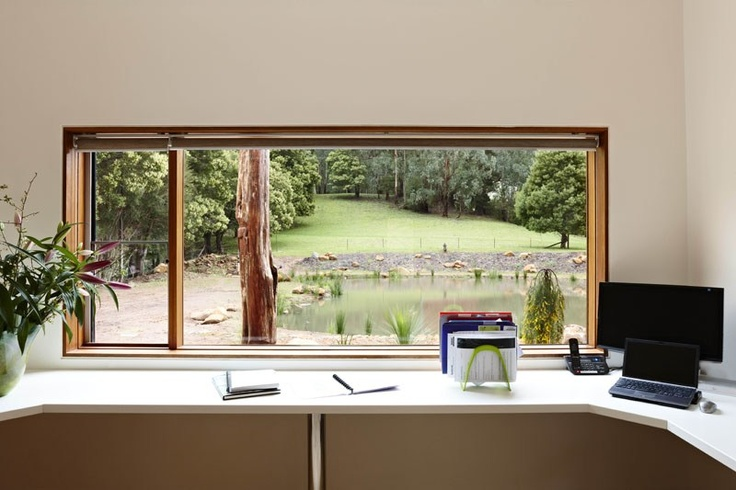 Ty and Haileys house on Grand Design Australia, Season 3.  Warburton Arch House  Extremely Sustainable House!   It would give me so much pleasure looking out to that view from my office every day!