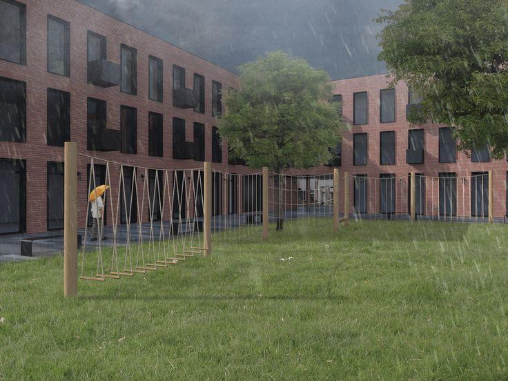 Apartment building, facade, brick.