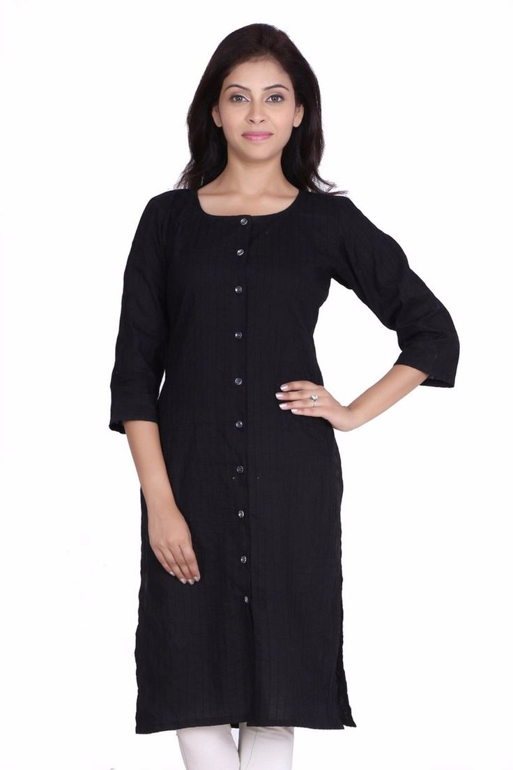 Women'S Indian Ethnic Plain Black Cotton Kurti Tunic Front Button Jkkckb1