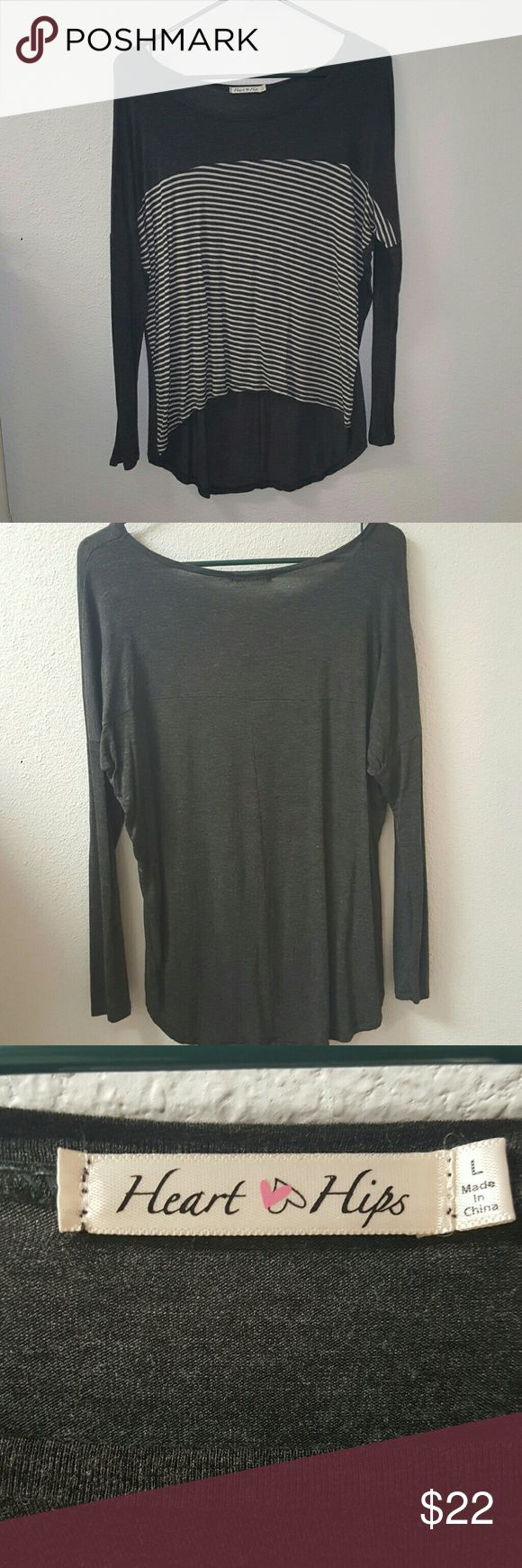 NWOT charcoal and white top. Nwot supper soft long sleeve  charcoal gray and qhite top. Tops
