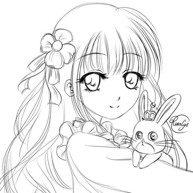 Chiya【Is the Order a Rabbit?】• 千夜【ご注文はうさぎですか?】 -  #fanart #sketch #croquis #lineart #GochiUsa #ごちうさ #Gochūmonwausagidesu ka #ご注文はうさぎですか #Istheorderarabbit - from #rosalys at www.rosalys.net - work licensed under Creative Commons Attribution-Noncommercial