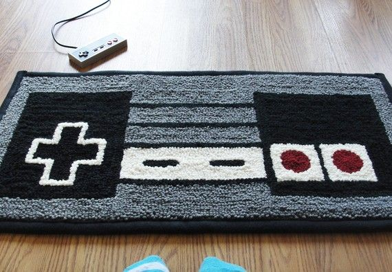 NES Controller Rug by WTCrafts ($63): Games Rooms, Nintendo Control, Videos Games, Gameroom, The Games, Control Rugs, Nintendocontrol, Men Caves, Modern Rugs