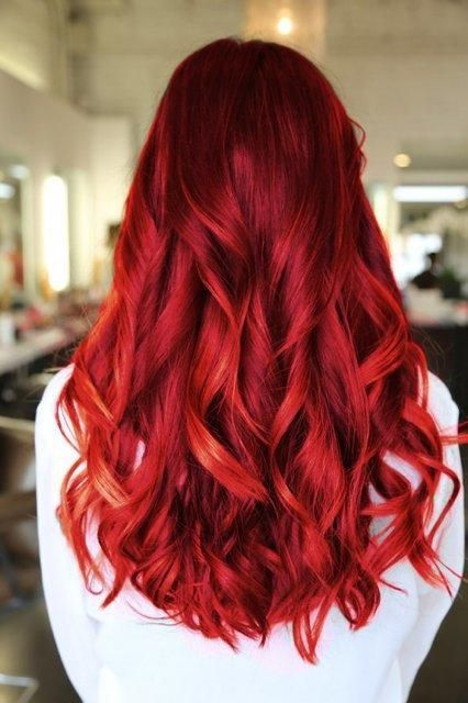 Red/colour/long/curly