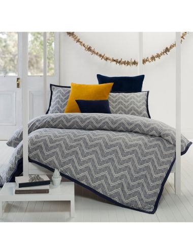 This striking chevron design is printed on a 370 thread count, cotton sateen fabric creating a beautifully soft and luxurious finish