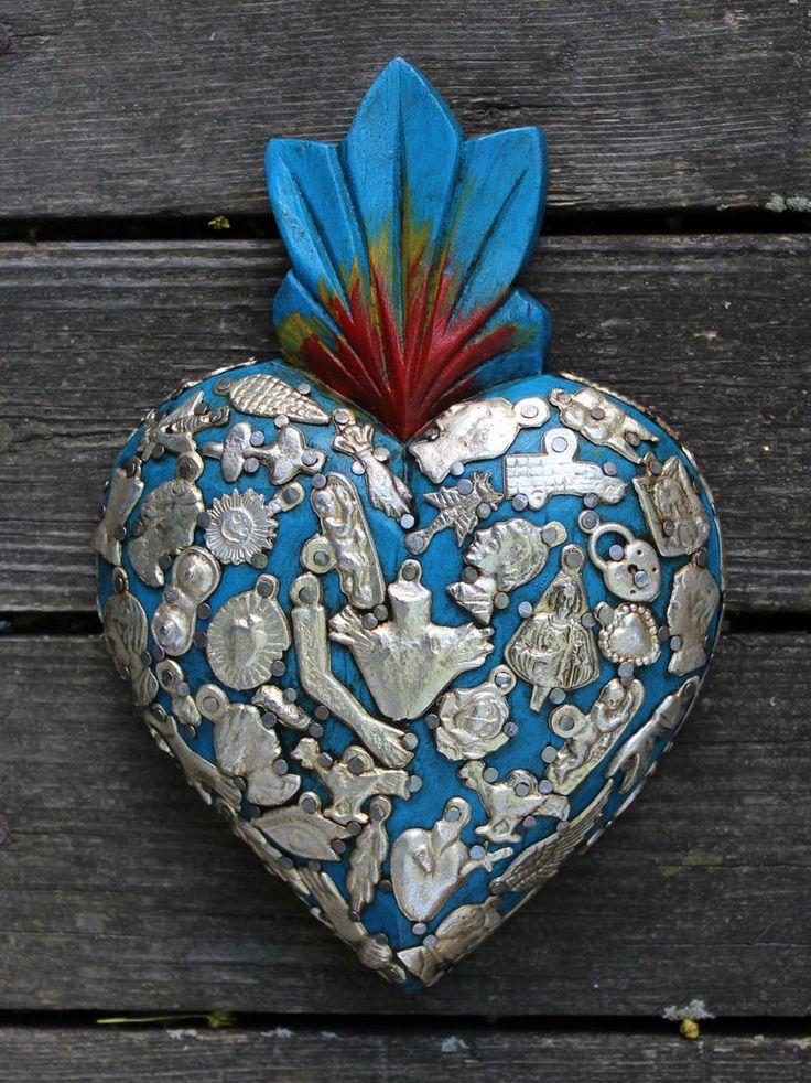 Baby Blue Sacred Heart wood Milagro covered Folk Art Michoacán Mexico Love Token