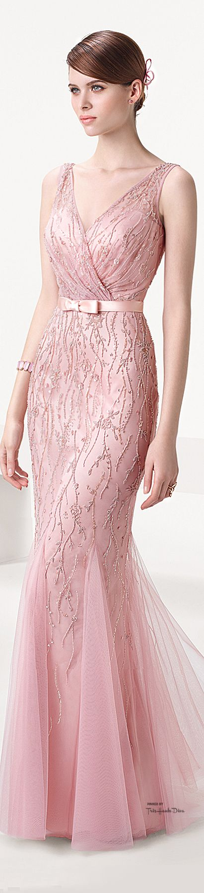 Aire Barcelona ~ Pale Pink Cascading Sequin Gown 2015