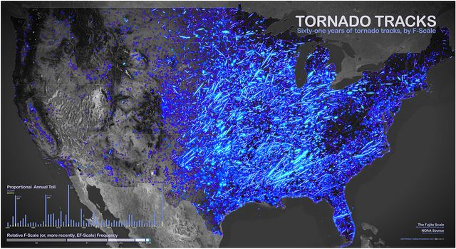 61 years of tornado tracks, by F-Scale