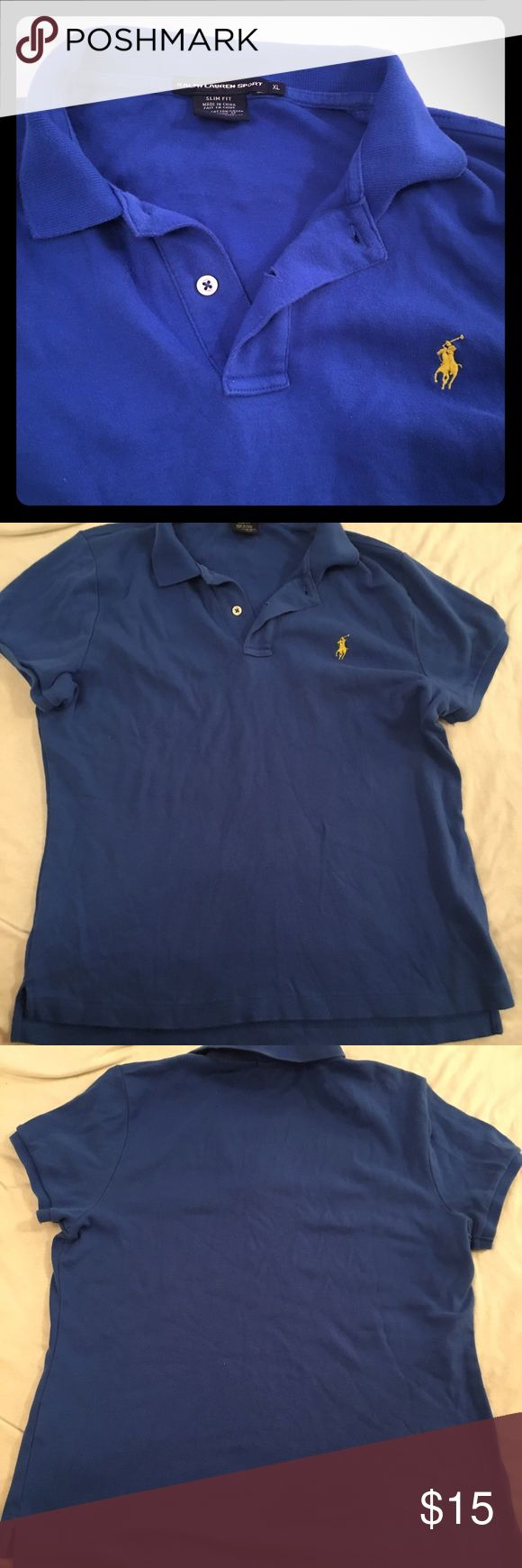 "Ralph Lauren sport slim fit shirt Ralph Lauren sport shirt Slim fit Women's XL Blue with yellow pony Chest is 22"" across Length is 25"" ralph lauren sport Tops"