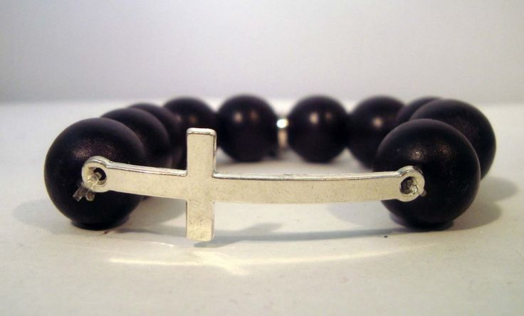 Kruis zwarte kralen armband | Armbanden | sweetestdesign