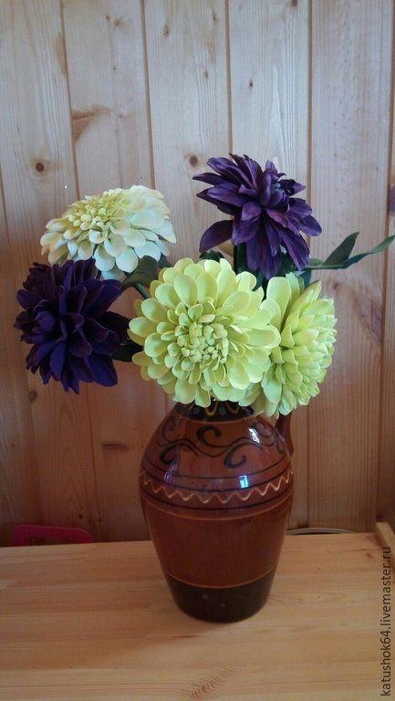 """Купить """"Лето в зените"""" букет георгинов - разноцветный, букет, букет цветов, букет из полимерной глины"""