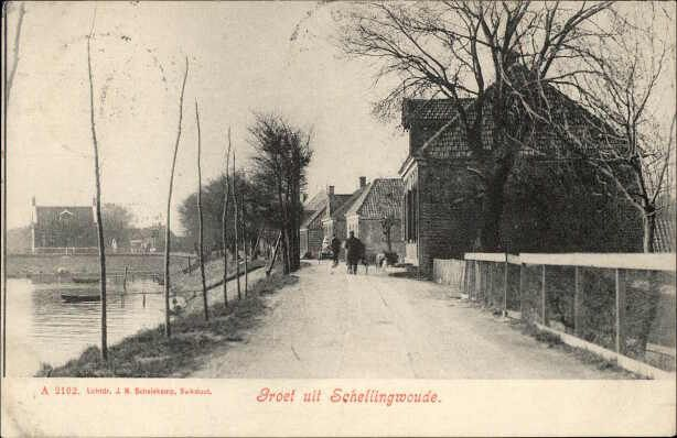 Beeldbank Prentbriefkaarten - Schellingwouderdijk met links de IJdijk naar de Oranjesluizen.