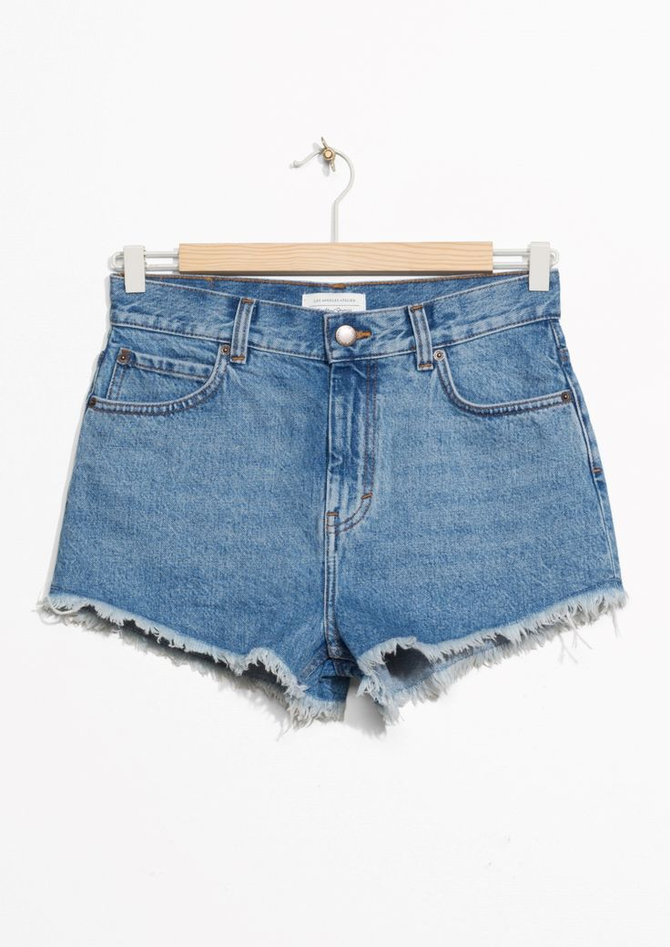& Other Stories image 1 of Raw Edge Cut Off Denim Shorts in Blue