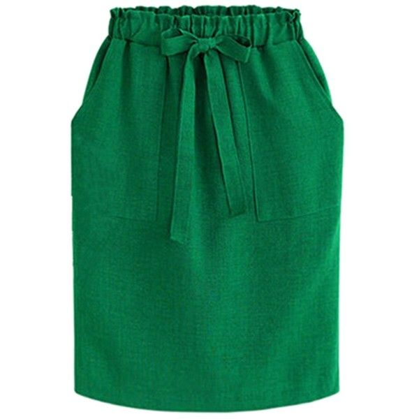Fair+True New  Fairly Made Cotton Pockets Tie Skirt ($62) ❤ liked on Polyvore featuring skirts, green skirt, tie-dye skirt, green cotton skirt, cotton knee length skirt and cotton elastic waist skirts
