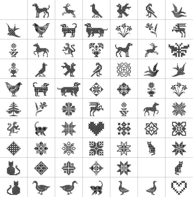 Cross Stitch shapes and animals