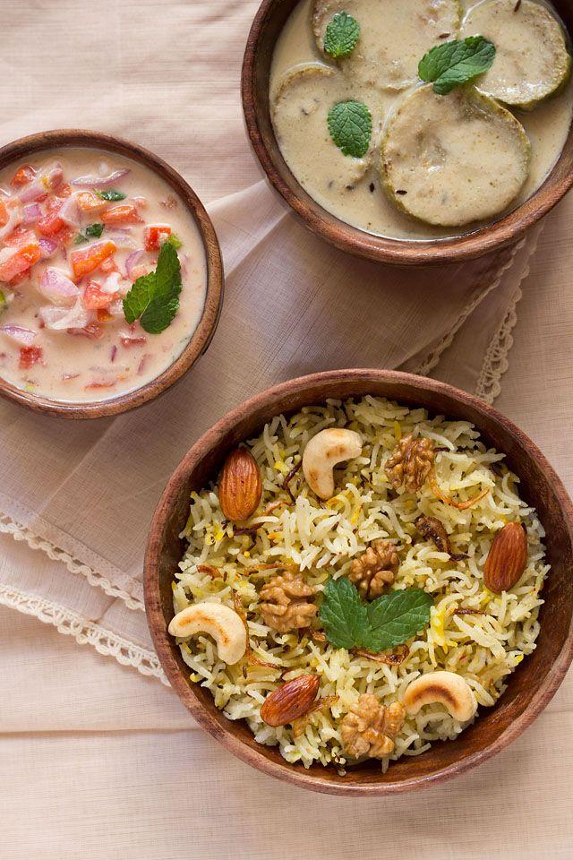 kashmiri pulao from the kashmiri cuisine - mild, aromatic and light pilaf with dry fruits.   #rice #pilaf #indianfood #vegan #ricerecipes