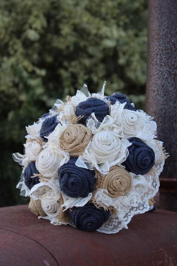 Navy Burlap and Lace Bridal Bouquet / rustic wedding bride's bouquet / rustic romance / burlap bouquet