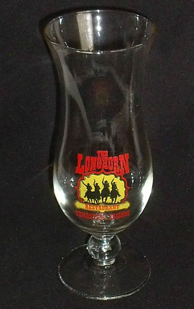 "The Longhorn Restaurant Ware Beer Drinking Glass Cup Tombstone AZ 8"" Footed  #TheLonghornRestaurant"
