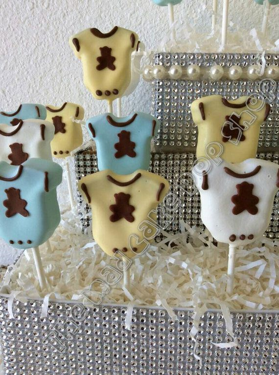 Baby Shower Cake Pops - Teddy Bear Onesies Cake Pops - Gender Reveal - Baby Boy - Baby Girl - Edible Favor  - MaD Cake Pop Shop