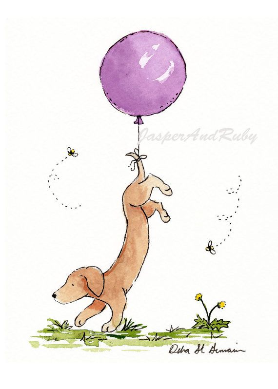 Dachshund Art Print Purple Balloon Art Girl by JasperAndRuby