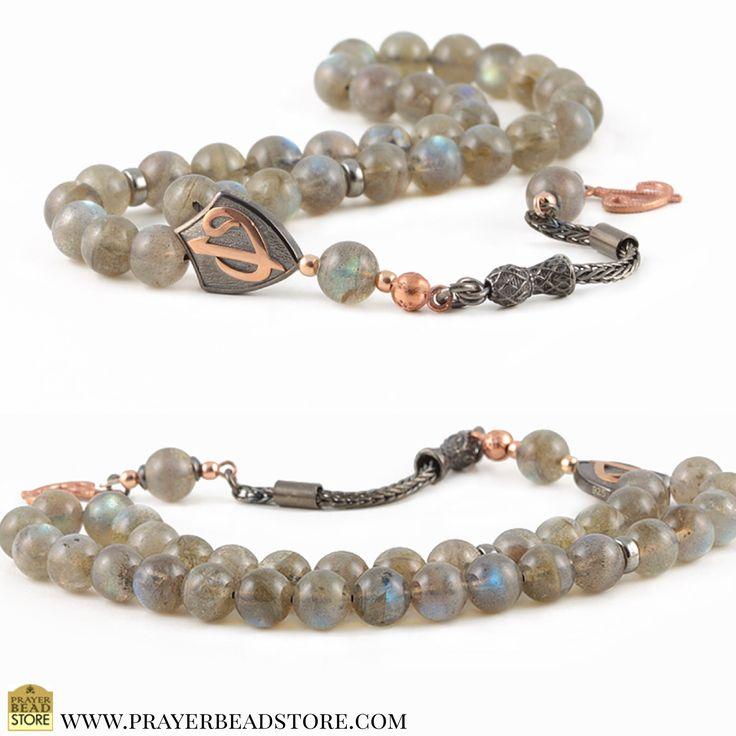 Labradorite Gemstone Prayer Beads with Oxidized Sterling Silver #prayerbeads #worrybeads #tasbih