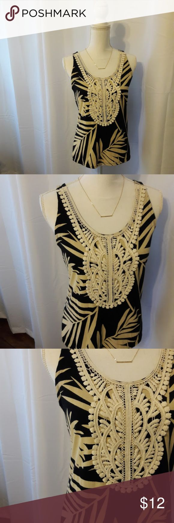 Merona Crochet  Tank Top Adorable Merona black and tan tropical print tank top with a cream colored crochet detailing around the neckline. Size XS. Used item: inspected for quality and wear. Bundle up! Offers always welcome :) Merona Tops
