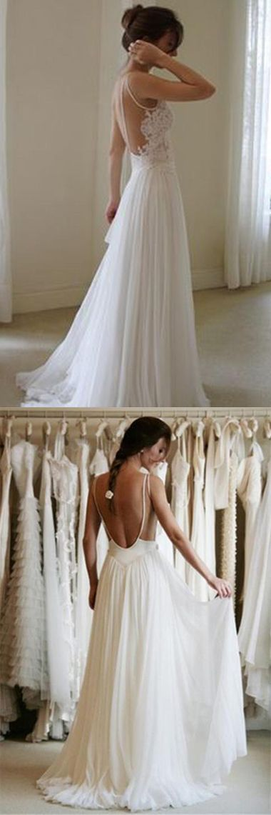 Open Back Sweetheart Spaghetti Beach Wedding Wedding Dress with Appliques #Beachweddingdresses #Appliques