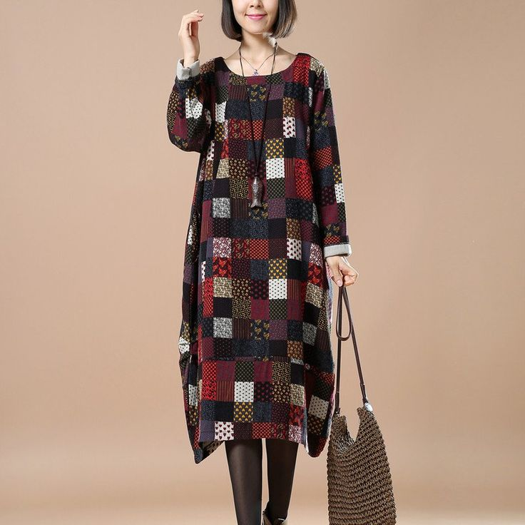 Women Casual Loose Print Cotton Linen Dress