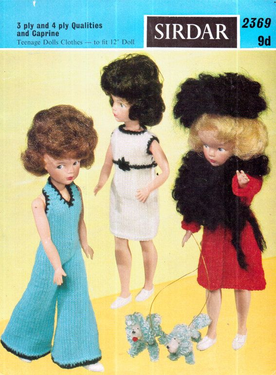 Sindy Vintage 1960s SIRDAR 2369 Funky Sindy Doll 3 Complete Outfits Knitting Pattern, doll clothes, Barbie, fashion doll