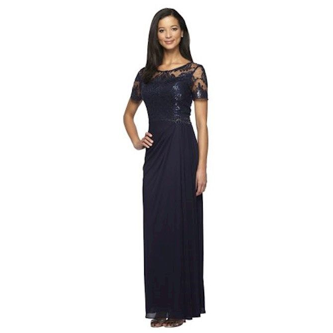 Adrianna Papell Womens 3//4 Sleeve Gown with Lace Bodice and Jersey Draped Skirt