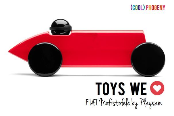 FIAT Mefistofele by Playsam: If you have a pint-sizer with a need for speed, the newly released FIAT Mefistofele by Playsam is a MUST to add to your toy box. A modern stylized replica of the  FIAT car in which Ernest Eldridge broke the world land speed record in 1924 at a then-unprecedented 124 miles per hour. Another fab design from the super (cool) Scandinavian toymaker.    #toys #fabfinds #coolprogeny