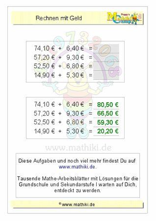 Rechnen mit Geld (ZE,Z0€+E,Z0€) - ©2011-2016, www.mathiki.de - Ihre Matheseite im Internet #math #money #geld #euro #cent #arbeitsblatt #worksheet