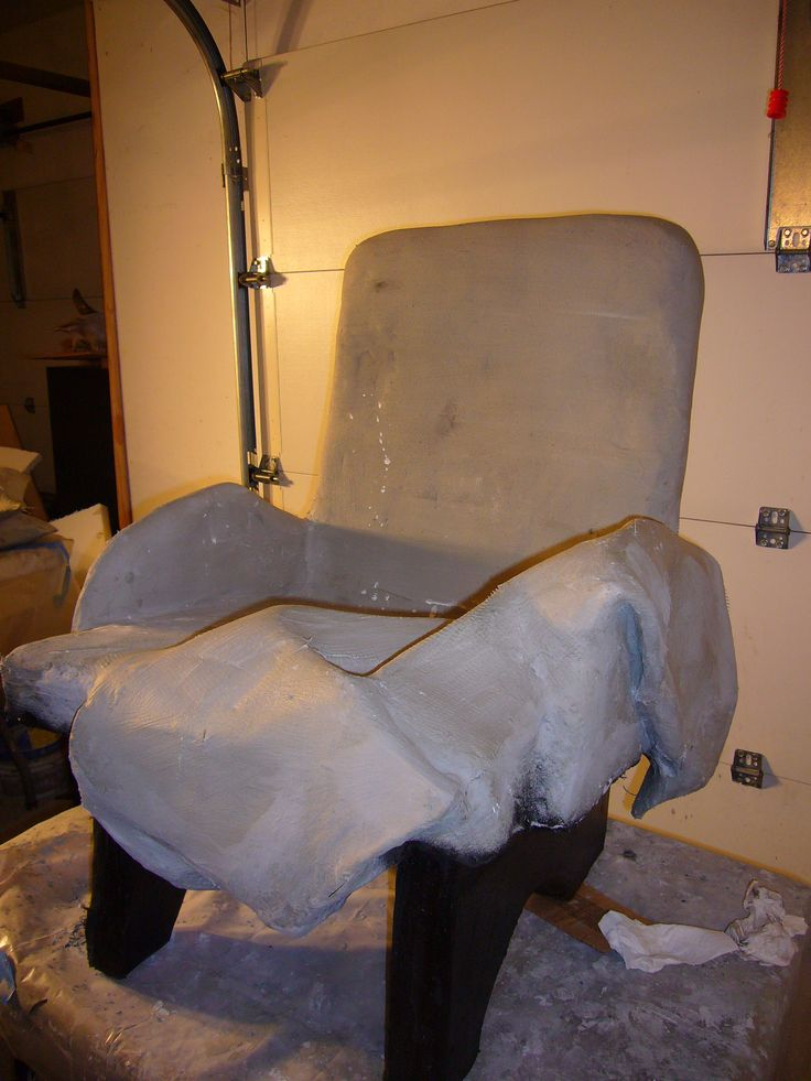 Cement Arm Chairs ~ Pre mosaicked cement chair with throw over arm since my