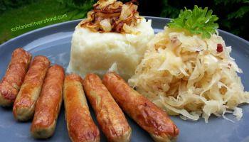 Sauerkraut mit Blumenkohlstampf und Nürnberger Würstchen (low carb)