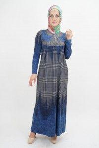 Исламская одежда в клетку синего цвета
