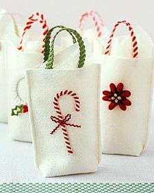 Ric rac Christmas Crafts - Martha Stewart Crafts reusable gift bags...going green, and greener