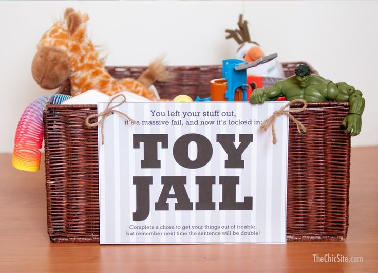 Toy Jail ~ Fun way to help remind your kids to clean up their toys. If they leave their toys around the house put their toys in Toy Jail. The way they can get it out is by doing a chore. Free Printables at www.thechicsite.com