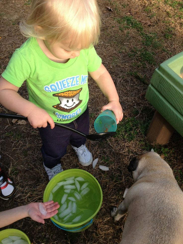 Scoop and pour ice: The Stay-at-Home-Mom Survival Guide: Toddler Activities