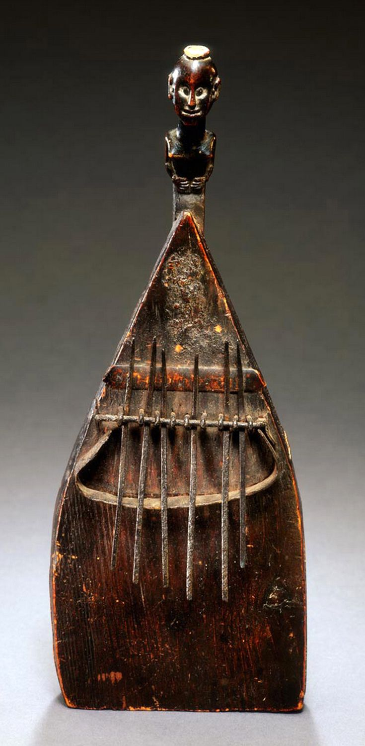"Africa | Lamellophone, or ""thumb piano""  ~ 'kasanji' ~ from the Luba people of DR Congo 