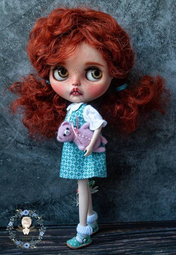 Custom OOAK baby Blythe doll with natural reddish …