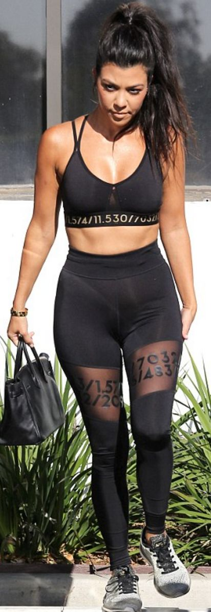 Kourtney Kardashian: Shirt and pants – H&M  Purse – Hermes  Shoes – APL  Bracelet – Cartier