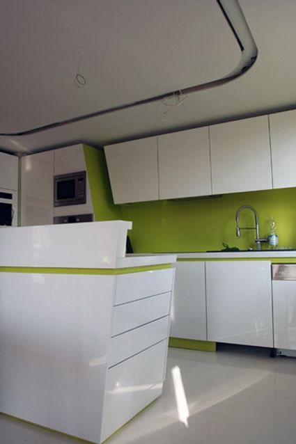Green And White Modern Kitchen  Interior Ideas  Pinterest