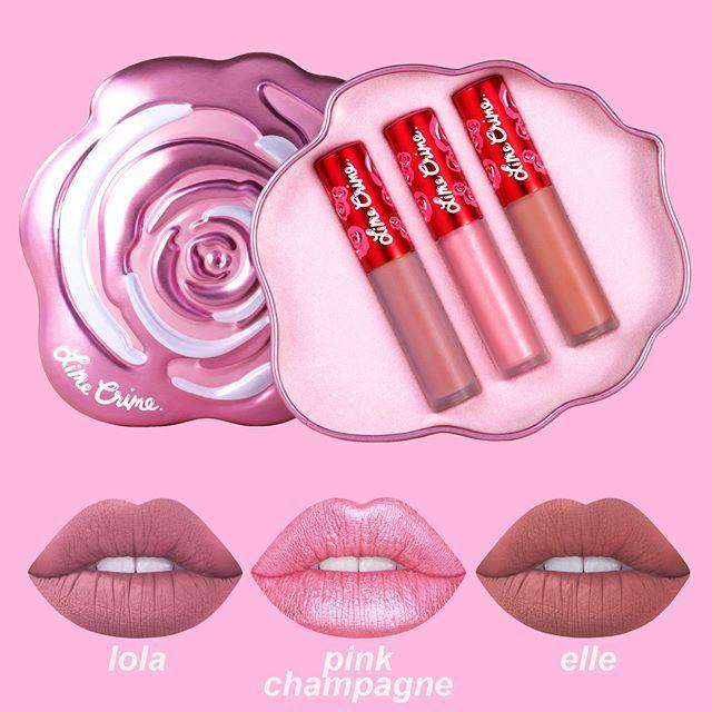 Pink Velve-Tin Mini Set, $28. Includes: Lola (new) - sandy nude   Pink Champagne - sparkling rose gold   Elle - apricot beige limecrime.com