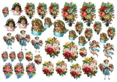 декупажная карта винтаж с розами и ангелами, оригинал качайте по ссылке на сайт