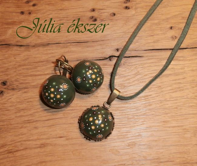 painted wood cabochons in bronze