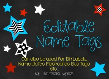 Would you like some cute EDITABLE name tags for Back to School? Edit with students names, print, and laminate for durability...for extra durability print on card stock.  Hole punch card, through thread string/ribbon/yarn through hole or use a lanyard.These tags also work great for Bus Tags, Bin Labels, Flashcards, Name Plates, Locker/Cubby Labels, etc...